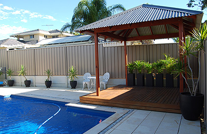 Pergola next to pool - Patios & Pergolas Decking Innovations